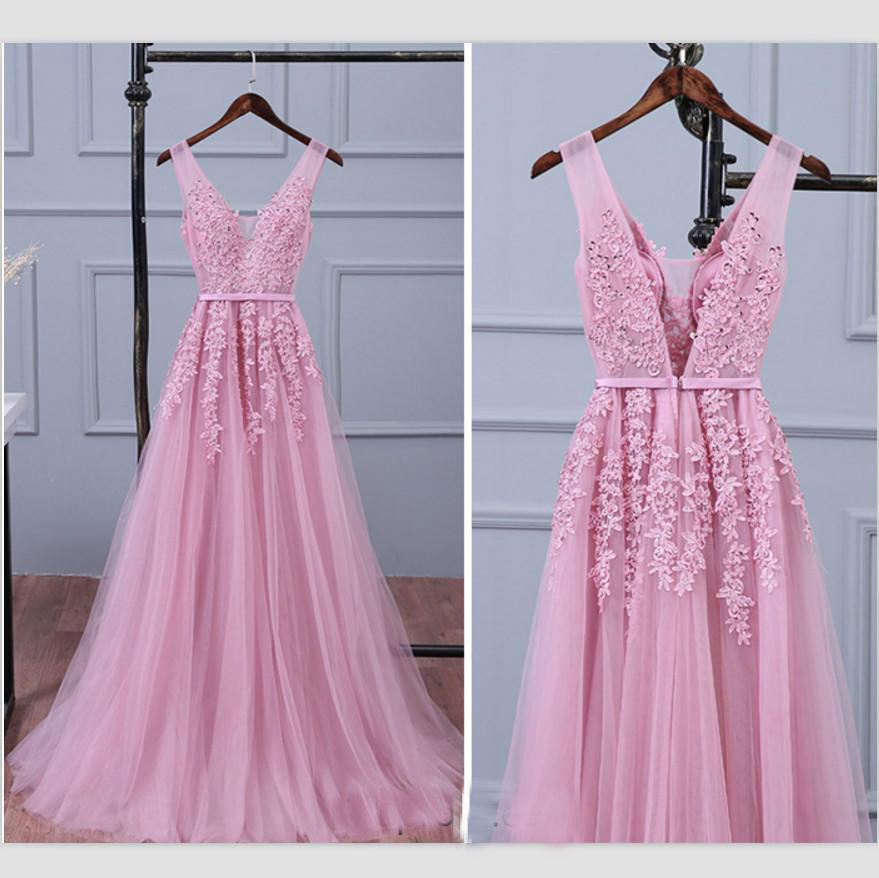 New Arrvial !2019 Spaghetti Straps Deep V-neck Pink Appliques Sash Tulle Zipper Up robe demoiselle d'honneur   bridesmaid     dresses