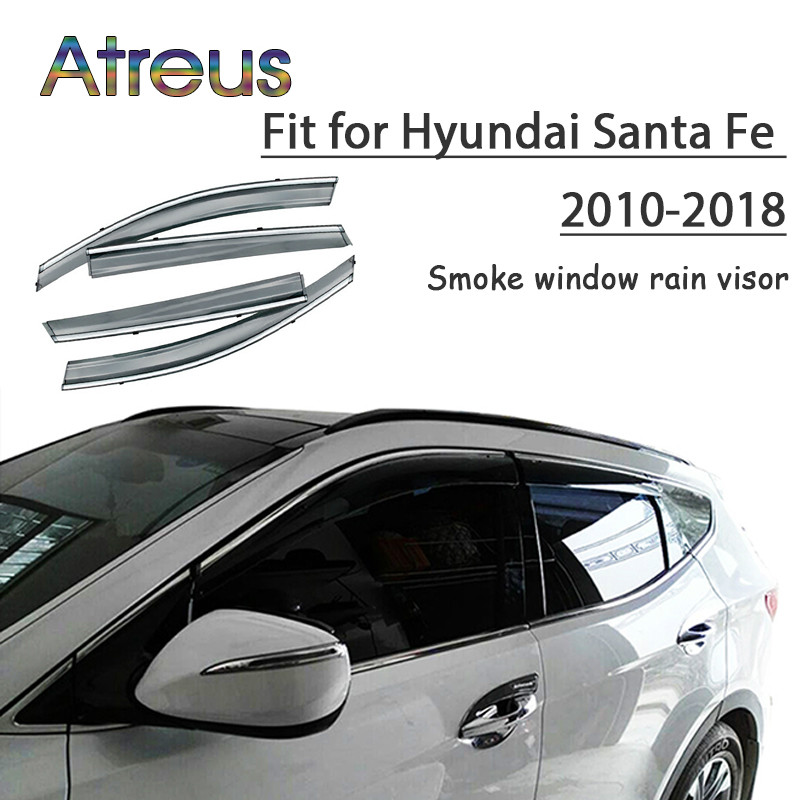 все цены на Atreus 1set ABS For 2018 2017 2016 2015-2010 Hyundai Santa Fe Accessories Car Vent Sun Deflectors Guard Smoke Window Rain Visor онлайн