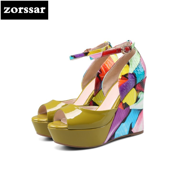{Zorssar} 2018 Genuine Leather High heels sandals platform wedges sandals Summer Shoes Women open toe shoes Party Dress Shoes genuine leather women sandals rural sweet style women shoes butterfly beading crystal wedges shoes high heel sandals dress shoes