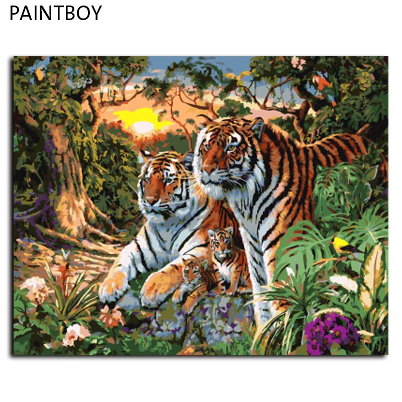 Europa Dekoration Tiger Familie DIY Leinwand Ölgemälde Gerahmte ...