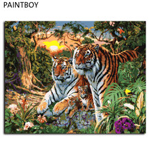 Europe Home Decoration Tiger Family DIY Canvas Oil Painting Framed Pictures Painting By Numbers Wall Art GX7861 40*50cm(China)