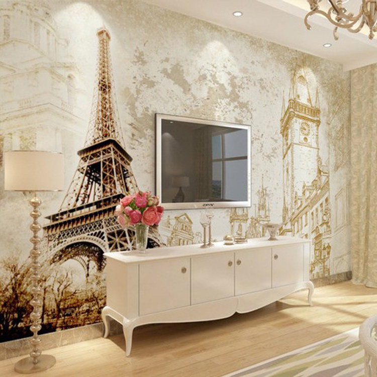 Wohnzimmer retro style  mural wallpaper Picture - More Detailed Picture about European and ...