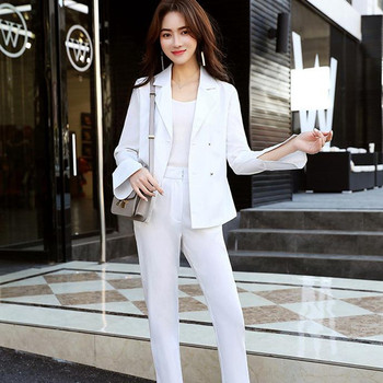 Trendy women's suit women's white double-breasted fashion slim jacket trousers set two-piece women's business formal suit