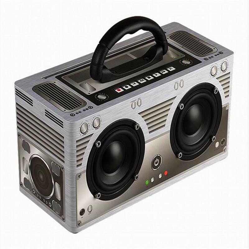 Acoustique actif système de haut-parleurs Portable colonne son bombe Vintage rétro en bois haut-parleur sans fil Bluetooth 4.2 caisson de basses