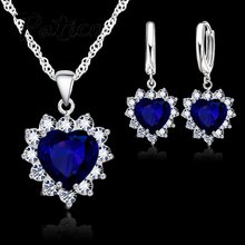 2019 New Arrival 925 Sterling Silver Cubic Zirconia Heart Pendant Necklaces Earrings Sets For Women Wedding Engagement Gifts(China)