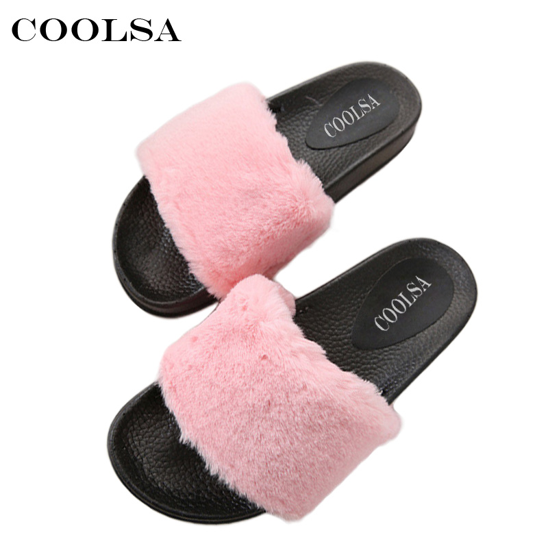 COOLSA Women Plush Slippers Fluffy Plush Slippers Rubber Thicker Non-slip Cute Furry Fur Slides Ladies Large Size Causal Shoes