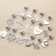 42pcs Mixed Heart Charms Tibetan Silver Pendant Fit Bracelets Necklace DIY Metal Jewelry Making 50g 100g mixed flower petal metal charms pendants vintage antique bronze silver bracelets necklace for diy jewelry making craft