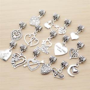 Heart-Charm Beads Pendant Jewelry-Making Bracelet Diy Pandora-Style Vintage 30pcs Mix
