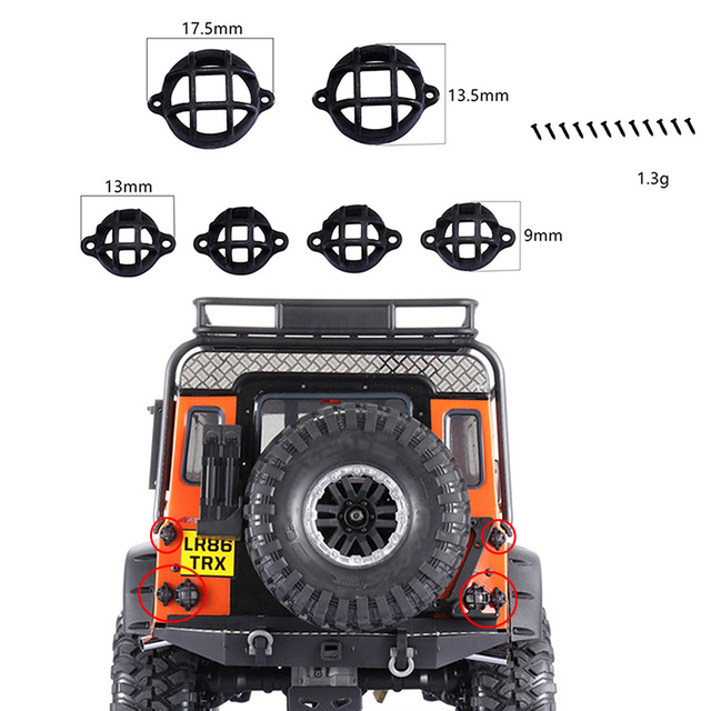 Simulation Rear Taillight Protection Lamp Cover Guard for 1/10 Traxxas TRX4 D90 D110 Land Rover Defender Upgrade RC Car Parts
