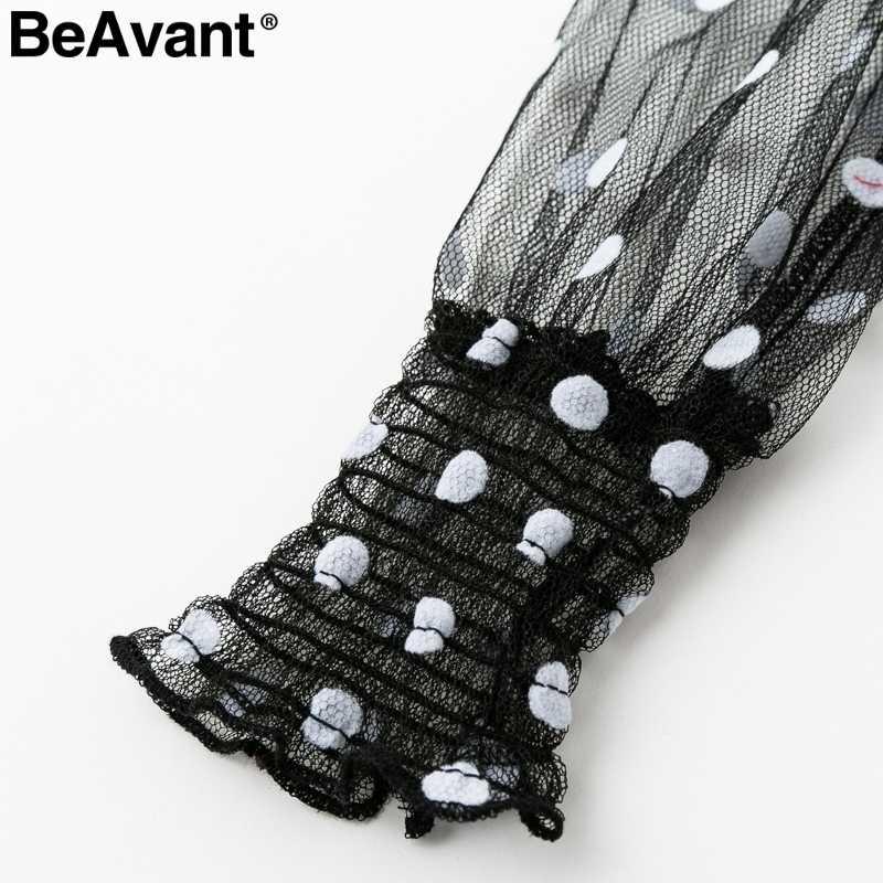 BeAvant Винтаж в горошек платье с длинными рукавами лето 2019 V шеи сетки пикантные женские платье Раффлед эластичный черное платье для вечеринки vestidos