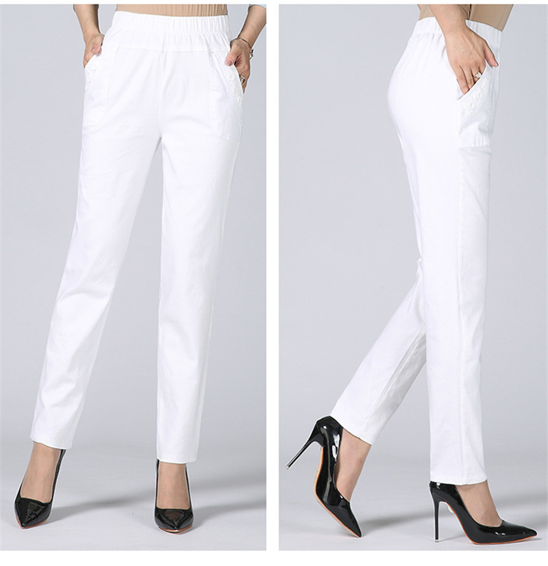 HTB1KYz2kbGYBuNjy0Foq6AiBFXat - Plus Size 5XL High Waist Stretch Long Pants Women Cotton Straight Trousers Women Pantalon Femme Work Office Ladies Pants C4315