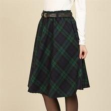 Winter New Women Retro Plaid Woolen Skirts  Knee-Length Women Winter Skirts A-line Femal Skirts For Women  TT182
