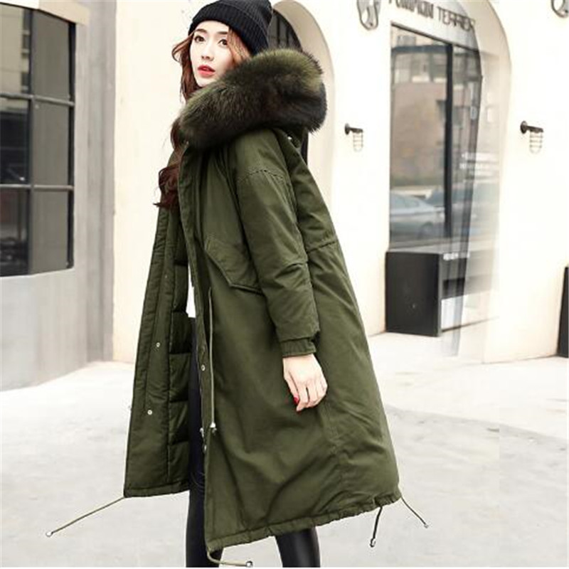 62a72f0699d Winter Jacket Women 2018 Large Real Raccoon Fur Hooded White Duck Down  Jacket Thick Warm Loose