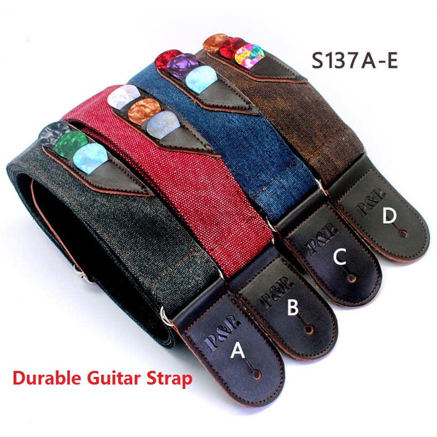 P&P 4 colors Guitar Strap good real leather end with pick holder bags guitar parts guitar accessories stringed instrument 317A