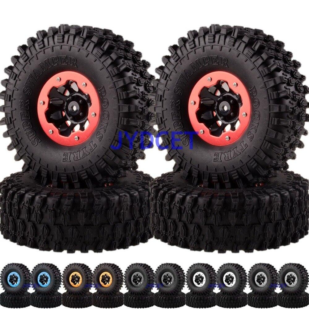 Rock Crawler Beadlock Wheel Rims & Super Swamper Rocks Tyre / Tires 4pcs 4037-7037 For 1/10 RC CC01 D90 SCX10