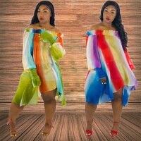 Neon Green Dress Women Summer Rainbow Stripes Off Shoulder Chiffon Beach Dress Loose Voile Irregular Dresses Bamboo Fiber