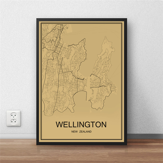 New zealand wellington retro painting world map vintage poster new zealand wellington retro painting world map vintage poster krafts paper art wall picture living room gumiabroncs