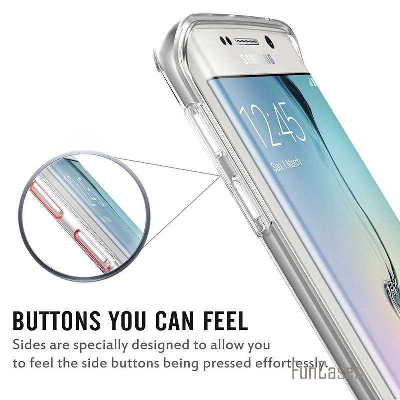 Soft TPU Transparent 360 Full Body Protective Case for Samsung S7 S6 Edge Plus Note 7 5 4 A7 A8 A9 Front Touch Screen Back Cover