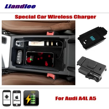 Liandlee For Audi A4L A5 2016~2018 Special Car Wireless Charger Armrest Storage For iPhone Android Phone Battery Charger