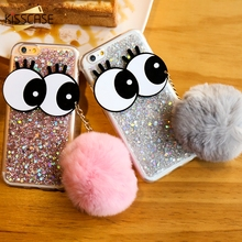 Get more info on the Case For iPhone 6 6s 6 Plus 6s Plus Cover Luxury Powder Paillette Glitter Coques Fur Ball Cover For iPhone 6 6s Cases Cute Eyes