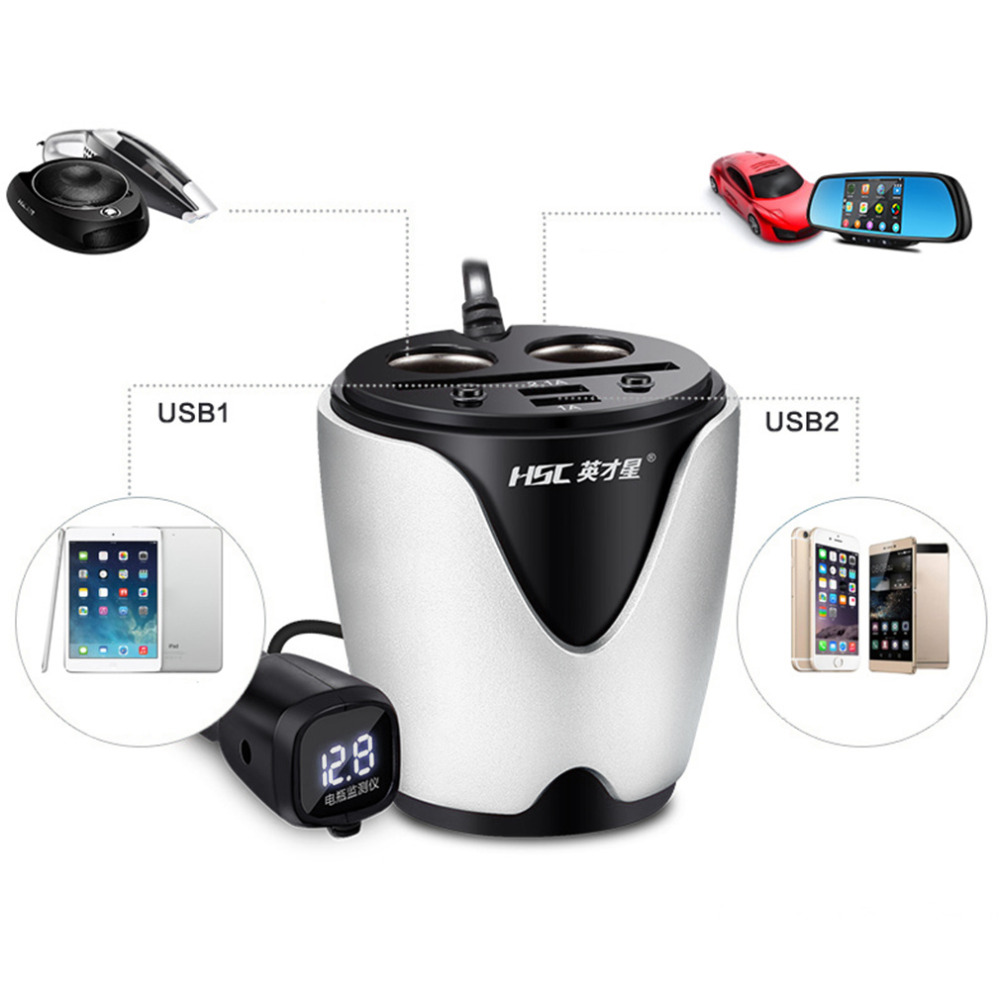 12 24v 31a 3 Color Output 2 Usb Car Charger With Voltage Current Alphanet Experiment The Full Adder 21 1a Display Quick Cup Holder Cigarette Lighter Socket Adapter Features 100 Brand New