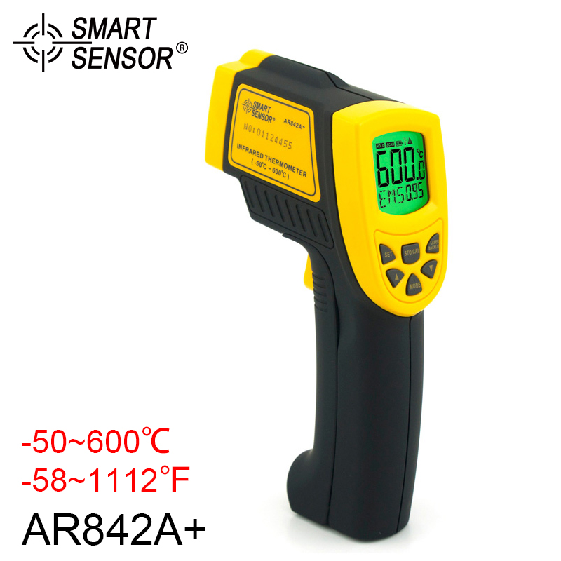 SMART SENSOR AR842A+ Digital Infrared Thermometer -50 600C C/F Option Tempature Meter Non-Contact Laser smart sensor ar550 infrared thermometer black orange 32 550 c