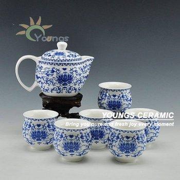 7 pcs blue and white tea set ceramic