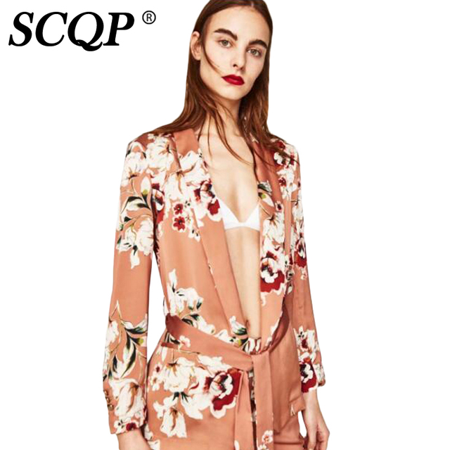 SCQP Floral Print Bow Lace Up Women Jackets Fashion Pink Cardigan Bomber Jacket Women 2017 Casual Ethnic Womens Spring Jackets