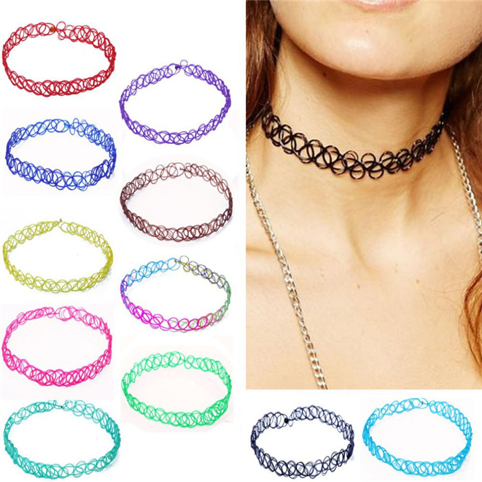 13 colors Hot Selling Vintage Stretch Tattoo Choker Necklace Gothic Punk Grunge Henna Elastic with Choker Necklaces (31)