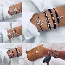 Хит лета, богемные браслеты с Луной, молниеносными листьями, наборы женских браслетов, несколько регулируемых браслетов, женские модные пляжные ювелирные изделия