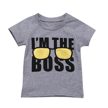 1-6Y New Fashion Summer Children Kids Boy Boss Printed Cotton Short Sleeve Tops O Neck T Shirt Casual Clothes Tops Tee Gray 2018 pure cotton t shirt harry dobby movie potter figure printed long sleeve fashion casual tops