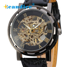 Hcandice Hot Selling Classic font b Men s b font Black Leather Dial Skeleton font b