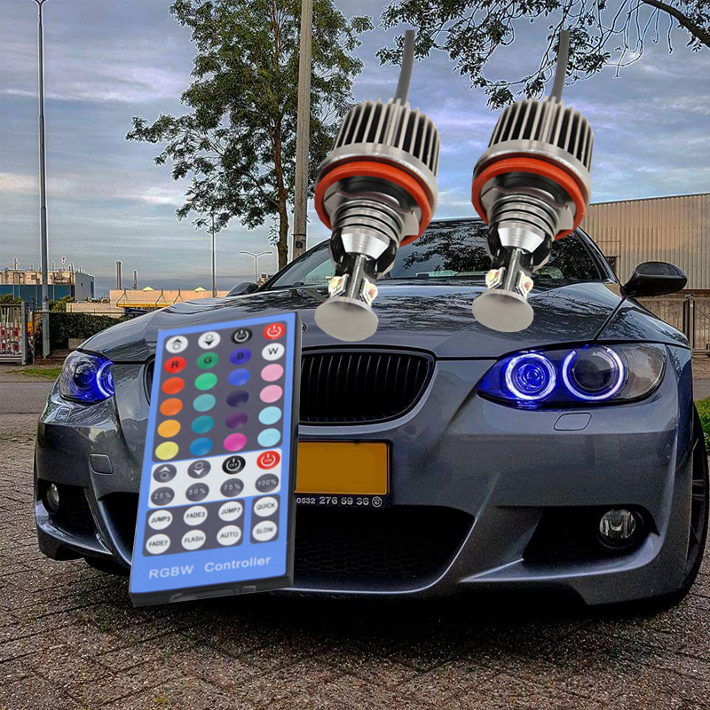 1 Pair High Quality RGBW Multicolor Colorful H8 Led Marker Angel Eyes Kit For Bmw E60 E61 With IR Cntrol Canbus No OBC Error 12V 2pcs set canbus no error free led marker angel eyes front driving fog lights for bmw h8 1 3 5 x series halo ring kits