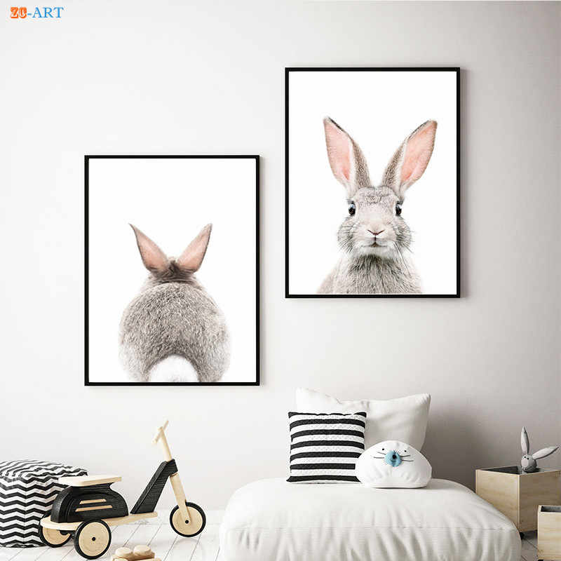 Bunny Rabbit Tail Canvas Painting Baby Animal Print Poster Nursery Wall Art Wall Pictures for Living Room Kids Art Home Decor