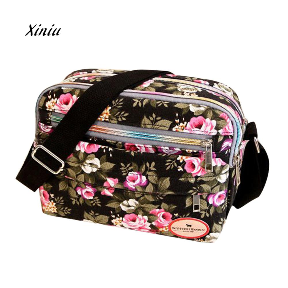 Fashion Women Cosmetic Bag Flower Printing Canvas Crossbody Bag Shoulder Messenger Bag Female Makeup Zipper Storage Packet qiaobao 2018 new korean version of the first layer of women s leather packet messenger bag female shoulder diagonal cross bag