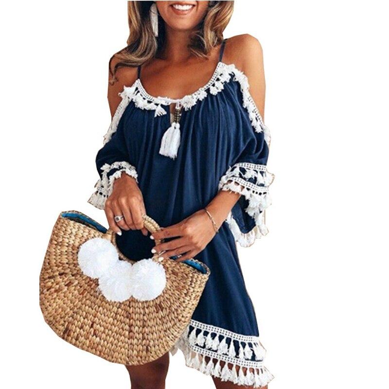 Detail Feedback Questions about Sexy Cold Shoulder Tassel Dress Women Plus  Size XXL Cotton A Line Mini Dress Bohemia Party Beach summer dress vestido  on ... f625c92adce9