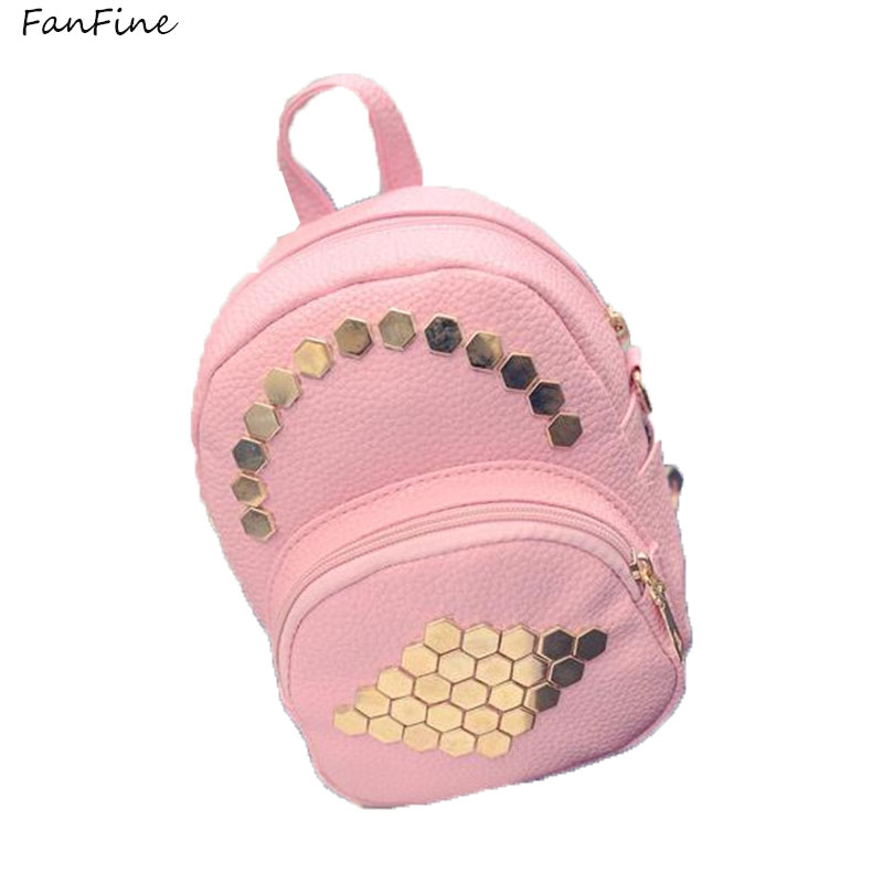 FanFine Women Mini Backpacks PU Leather Casual Bags Classical Teenagers Fashion Travel Rivet Back Pack Bag Korean Style backpack