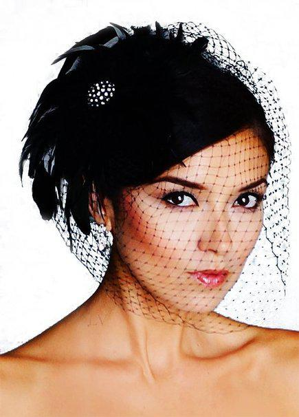 "French Net Blusher Birdcage Veil Bridal Headpieces Black Flower Feather Brooche 9"" x17"" bandeau Wedding Birdcage VeilS LV20"