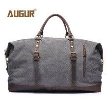 Купить с кэшбэком Vintage Military Canvas Leather Men Travel Bags Carry on Luggage Bags Men Duffel Bags Travel Tote Large Weekend Bag Overnight