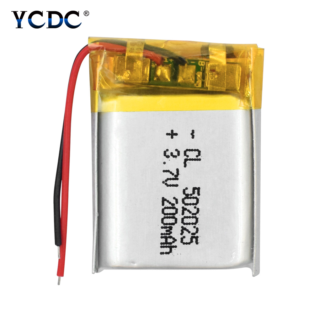 1/2/4x 2018 New 3.7V 200mAh Lithium <font><b>Battery</b></font> <font><b>502025</b></font> Rechargeable Li-po Polymer Bateria With PCB For Psp MP3 GPS MID POS Headset image