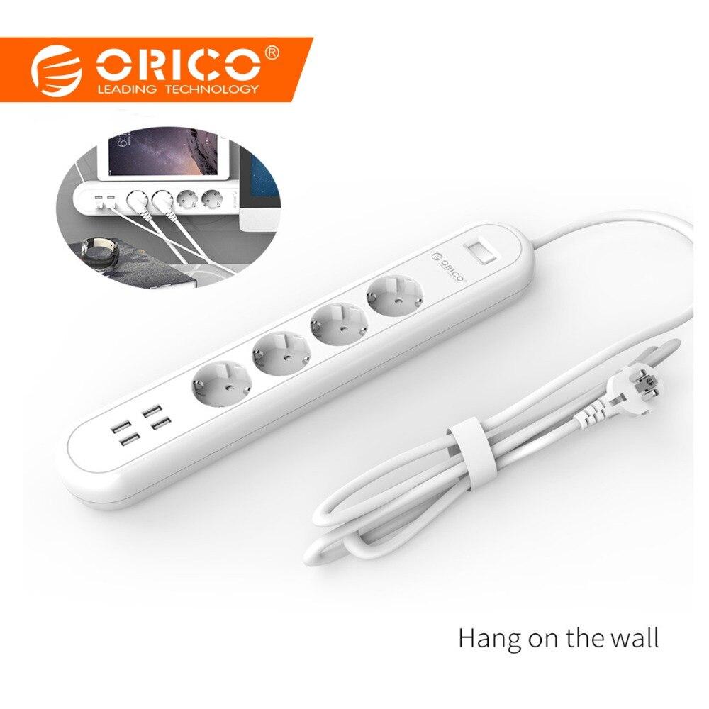 ORICO poder de la UE tira con 4 puertos de carga USB 4 Socket Plug multifuncional casa Oficina de carga rápida de energía inteligente de cargador