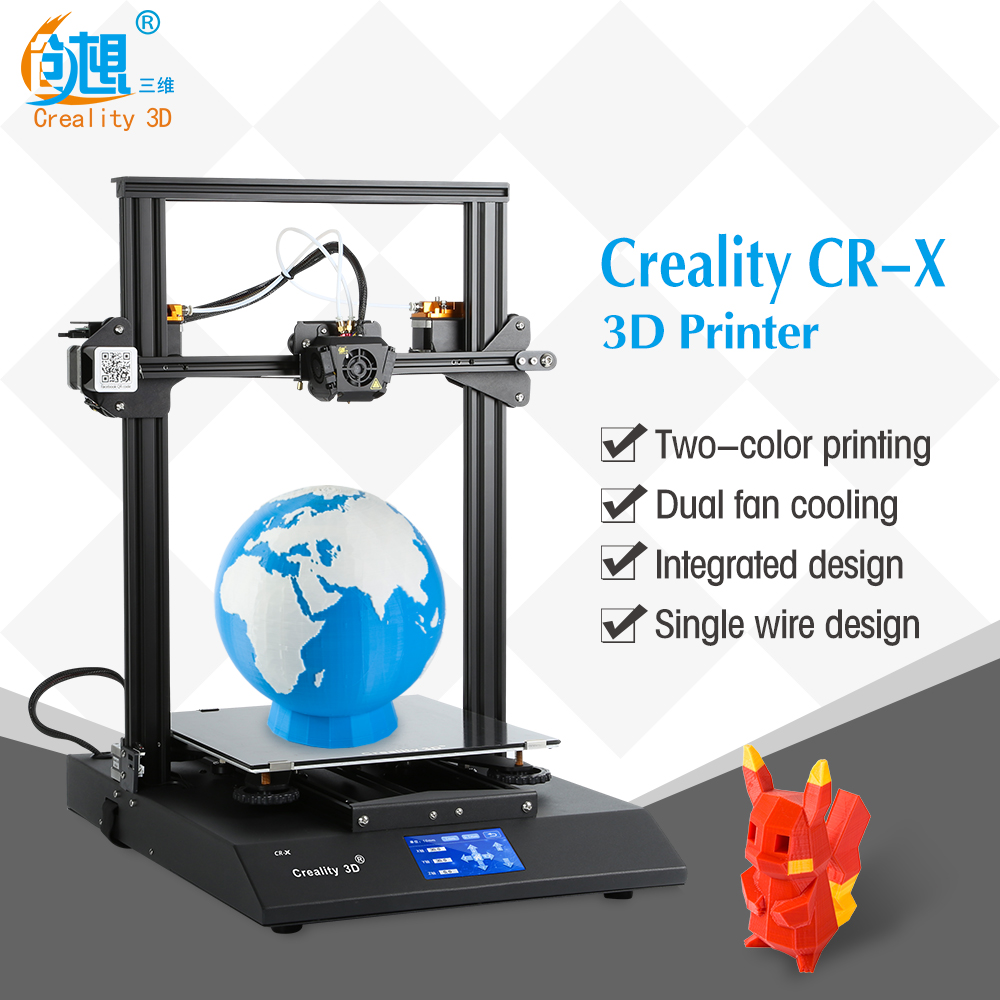 Creality CR-10 X Dual color large printing size DIY desktop 3D printer 300*300*400 mm printing size with heated bed new arrival cr 10 diy 3d printer kit 300 300 400mm printing size 1 75mm 0 4mm nozzle abs pla filament with heated bed