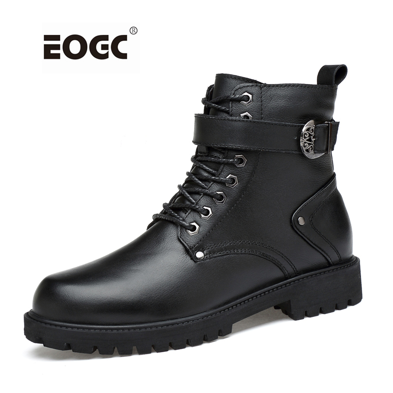 High Quality Plus Size Winter Shoes, Lace Up Warm Leather Men Boots, Two Style Fashion Men Autumn Shoes And Winter Boots sports style straight leg plus size lace up fitted cross and letters embroidery shorts for men