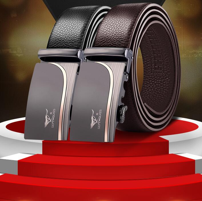 Gentleman Metal Automatic Buckle Bull cow Skin Brand Belt Male High Quality Genuine Luxury Leather Belts for Men Strap