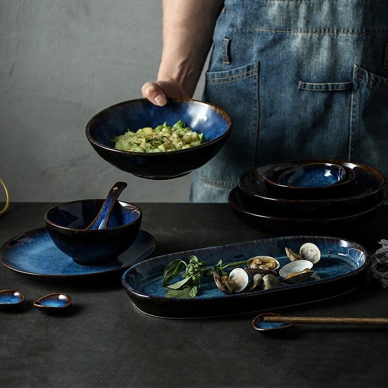 NIMITIME Style japonais en céramique porcelaine Dim bleu riz bol à soupe vaisselle assiette vaisselle ensemble vaisselle