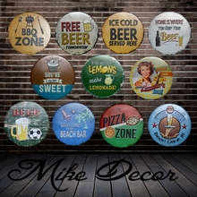 [ Mike Decor ] Round sign painting Retro Gift Metal Craft Hotel Home decor YA-967