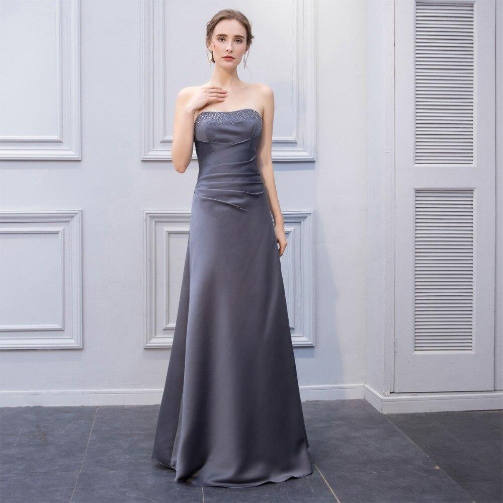 BeryLove Long   Bridesmaid     Dresses   2018 Grey Beading   Bridesmaid     Dress   For Wedding Lace-Up Women   Bridesmaid     Dress   Gowns Gray
