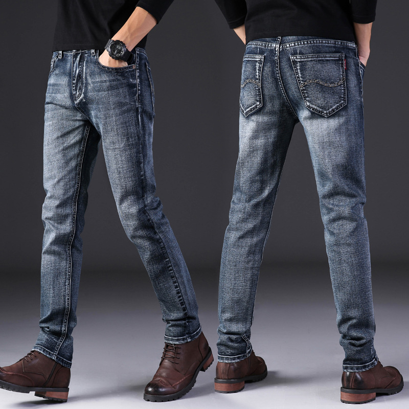 Men Spring And Autumn Fashion Brand Korea Style Vintage Slim Fit Straight Denim Pants Male Smart Casual Trousers Import Clothes