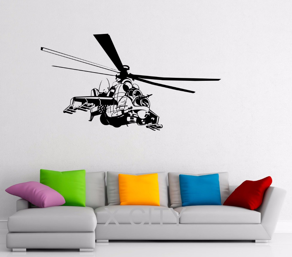 Airforce Helicopter Military Decals CREATIVE WALL ART REMOVABLE <font><b>STICKERS</b></font> VINYL DIE CUT <font><b>OFFICE</b></font> DORM HOUSE INTERIOR ROOM DECOR