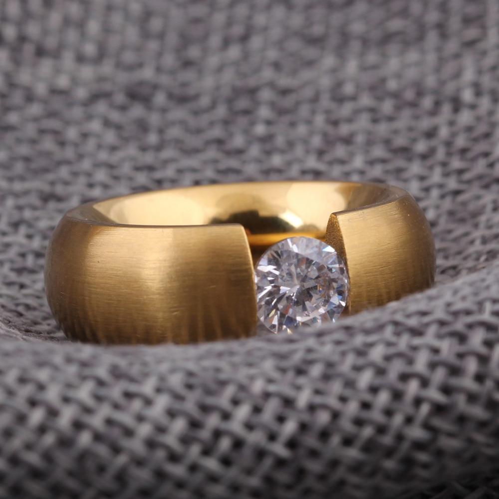 Gold-Color 316L Stainless steel Wedding Rings for Women Men 5
